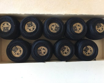 DMC Coton Perle Embroidery Yarn #8 Lot of 9 in original box Vintage Stock Cotton Pearl Black 310 Made in France
