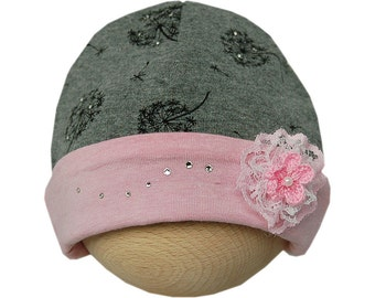 Baby hat with flower rosette and dandelions dark grey/pink