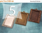 SALE 25x35 mm Rectangle Victorian Tray Rose Pendant Blank Antique Silver, Antique Bronze, Antique Copper for Clear Glass or Resin