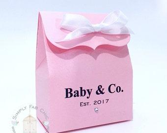 Baby & Co Favor Bag Box   Favor Boxes (Set of 10)   Treat Favors   Pink Favor Box   Personalized Boxes   Bridal Shower Favor   Wedding Favor