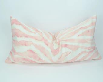 blush pillow cover // pink tiger print pillow  // pale pink pillow // pink zebra cushion