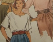 UNCUT and FF Pattern Pieces Vintage Vogue  8094 Sewing Pattern Tops Sizes 12-14-16