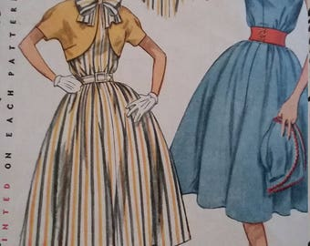 Vintage Simplicity 4184 Sewing Pattern Size 14 Bust 32 One-Piece Jiffy Dress,  Short Jacket, and Elastic Belt