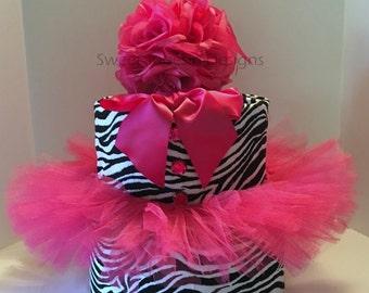 Zebra Pink Centerpiece Black White Fuchsia Baby Shower Birthday  Bridal Shower