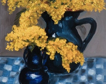 """Large Fine Art Limited Edition Giclee Print  """"Still Life With Mimosas"""" by Corinne Korda"""