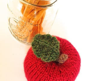 Hand knit Apples-Teacher Gifts-Small Desk Accessories-Single Red Apple