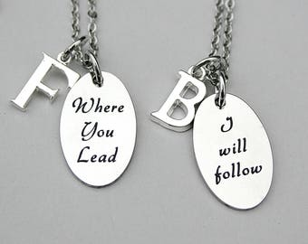 """Stainless Steel Necklace Set Of Two , """"Where You Lead """","""" I Will Follow"""", Gilmore Girls Quote Necklace Set, Gift For Her, Best Friends"""