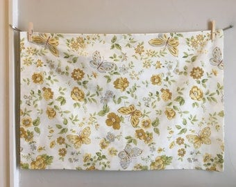 Vintage Cannon Monticello Pillowcase, 70's Floral Butterfly Pillow Case, Neutral Earth Tone Vintage Bedding, Standard Pillowcase