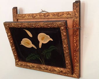 Antique Victorian letter mail rack holder folding wall pocket hand painted calla lilies ornate gold frame farmhouse cottage chic home decor