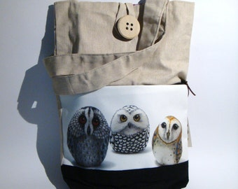 Owls, hand made tote bag, painted rock photography, forest's animals, wearable art