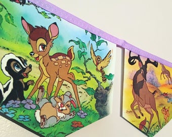 BAMBI little golden book banner bunting garland baby shower disney nursery decor paper party banner