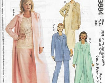 McCall's 3884 Size 18W-20W-22W-24W 26W-28W-30W-32W Women's/Women's Petite Unlined Jacket or Duster, Dress, Top and Pants Sewing Pattern UC