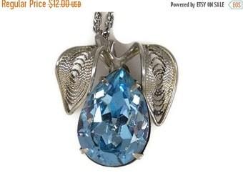Sale Vintage Blue Rhinesotne Pear Necklace Filigree Leaves