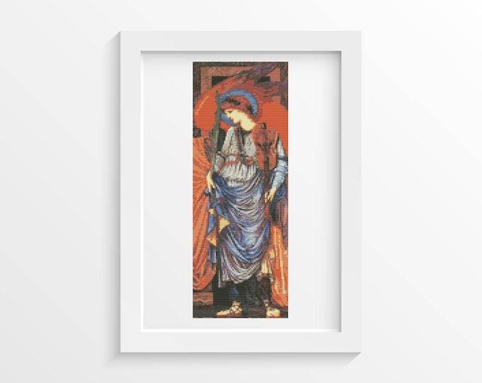Cross Stitch Pattern PDF, Embroidery Chart, Art Cross Stitch, A Musical Angel by Sir Edward Burne-Jones (BURNE03)