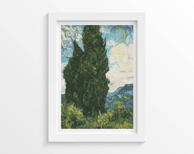 Cross Stitch Pattern PDF, Embroidery Chart, Scenery Cross Stitch, Cypresses by Vincent van Gogh (VGOGH27)