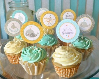 "Baby Shower Cupcake Toppers Printable: 2"" Party Circles - Whale Party Decoration - Boy or Girl - Instant Download - Under the Sea"