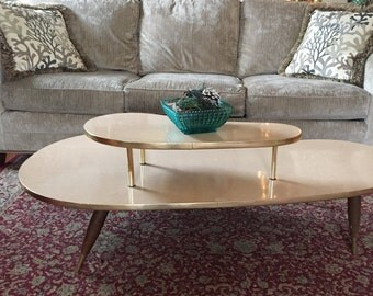 Mid Century Blond Eames Era, 2-tier Coffee Kidney Table, Amoeba shape, Boomerang Table