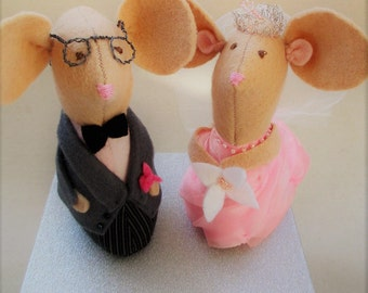 Wedding Cake Toppers, Cake Decor, Wedding Mice Toppers