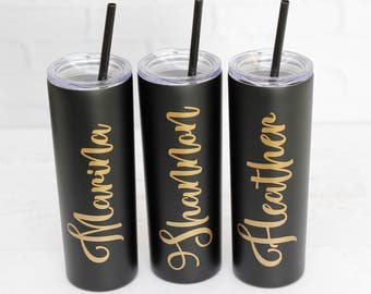 Skinny Stainless Steel Tumbler // Personalized Stainless Straw tumbler // Stainless Mug // girls weekend gift // travel coffee mug