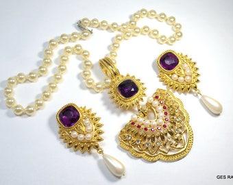 Vintage Avon Shall JHAVERI Imperial Elegance Pendant Necklace Earrings Jewelry Set Demi Parure High End Jewelry Statement Jewllery