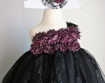 Black and Pink Valentine's Hearts - one shoulder shabby tutu dress and headband