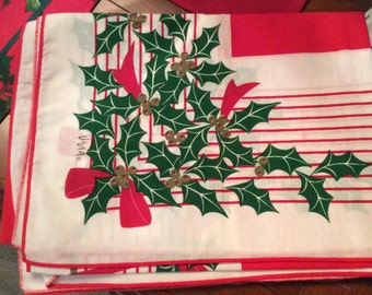 Vintage VERA Christmas table cloth. 42x58""