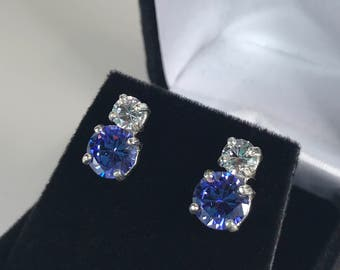 Beautiful 6ctw Violet Blue Tanzanite & White Sapphire Sterling Silver Earrings Trending Jewelry Gift Mom Wife Fiancé Tanzanite Jewelry