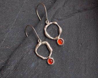 Small Carnelian earrings, Asymmetric sterling silver earrings, Crystal earrings, Artisan jewelry,  Orange gemstone earrings, July birthstone