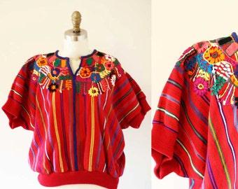 1970s embroidered tourist top // 1970s souvenir top // 1970s blouse