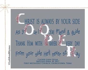 Baptism Gift For Boy Personalized Baptism Gift For Godson Baby Dedication Gift Christian Baby Gift Religious Decor Poem 8x10 Cooper