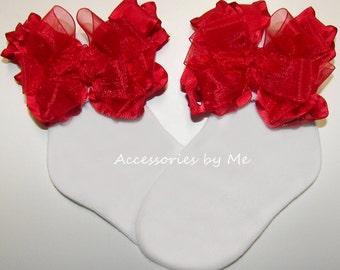 Frilly Ruffle Socks, Red Ruffle Bow Socks, Baby Ruffle Trim Socks, Infant Toddler Dress Up Socks, Wedding Flower Girl Socks, Christmas Socks