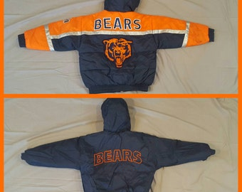 Grizzly As Heck Vintage 90's Chicago Bears Reversible Pro Player Bubble Coat