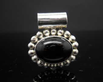 Sterling Silver Large Onyx Pendant X-Large Bail Beaded Design 925 Jewelry Mexico