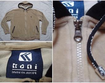 Vintage Retro Men's 90's Karl Kani Hoodie Jacket Velour Khaki White 23 Hip Hop Streetwear Large