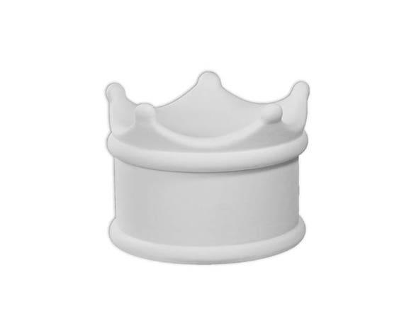 Crown box ceramic bisque paintable pottery craft for Bisque ceramic craft stores