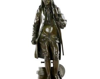 Benjamin Franklin Antique Bronze Sculpture by Jean-Jules Salmson (French, 1823-1902), 611PAN03W