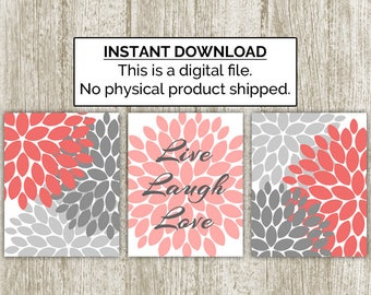 Coral Live Laugh Love Wall Art Printable, Flower Bursts Print, Inspirational Quote, Gray Wall Decor, Set of 3, 8x10 Instant Download
