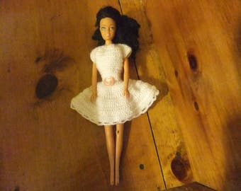BARBIE PARTY DRESS - White Barbie Dress - Crocheted Barbie Dress - Handmade Barbie Dress