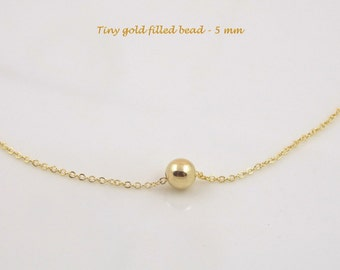 Gold Filled Necklace Dainty Simple Necklace Minimalist Necklace Layered Necklace Tiny Bead Necklace Delicate Jewelry