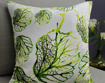 Inky Leaf Cushion - Botanical Floral Print Featuring Sketchy Colourful Leaves