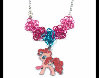My Little Pony Pinkie Pie - Chainmaille Charm Necklace