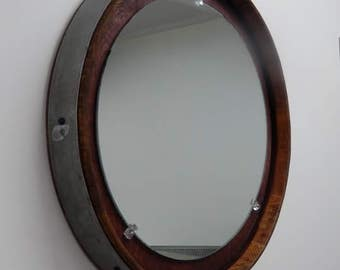 Wine Barrel Mirror Round Wall/ Handmade, Napa Valley