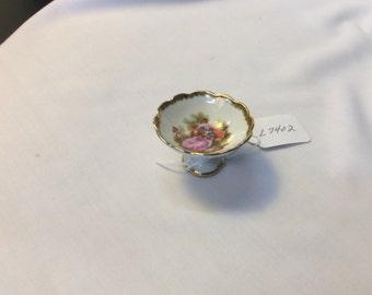 Vintage miniature Porcelain Limoges France Victorian courting couple Pedestal Bowl