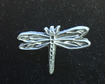 Aged Pewter dragonfly hat pin tie tac