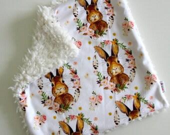 Dream Lovie, Floral Bunny Rabbit Minky with Ivory Faux Fur