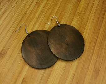 Brown Earrings - Brown Wooden Earrings - Brown Wood Earrings - Brown Dangle - Brown Circle Earrings - Rasta Earrings - Ethnic Earrings Brown