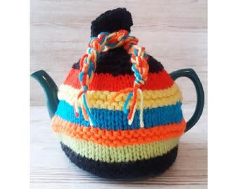 KNITTED TEA COSY - Hand Knitted Cosy - Retro Tea Cosy - Tea Cozy - Tea Cosy