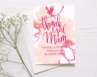 Mother's Day Card // Blunder Years Mother's Day Card // Funny Mother's Day Card // Pretty Card For Mum