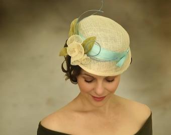 Helena Blue Sinamay Fascinator Wedding War Era Victorian Garden Party Hat Custom Aqua Chartreuse Summer