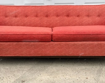 kroehler sofa original pink upholstery u0026 walnut trim - Kroehler Furniture